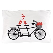 tandem bicycle with cute love birds Pillow Case