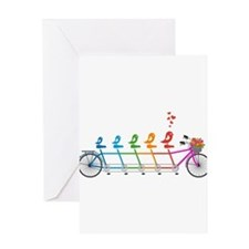 tandem bicycle with cute birds family Greeting Car
