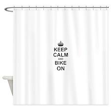 Keep Calm and Bike on Shower Curtain