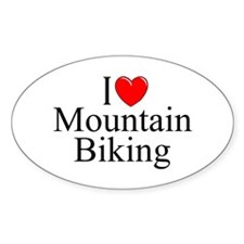 """I Love (Heart) Mountain Biking"" Oval Decal"