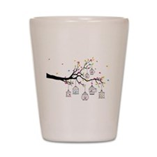 tree branch with birds and birdcages Shot Glass