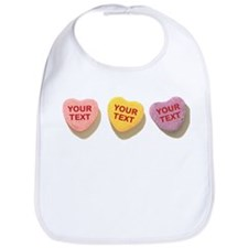 3 Candy Hearts CUSTOM TEXT Bib