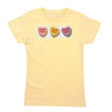 3 Candy Hearts CUSTOM TEXT Girl's Tee