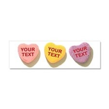 3 Candy Hearts CUSTOM TEXT Car Magnet 10 x 3