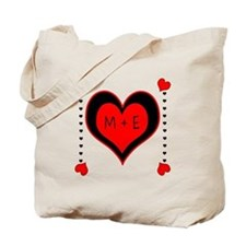 Cascading Hearts Monogram Tote Bag