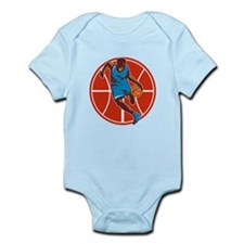 Basketball Player Dribble Ball Front Retro Body Su