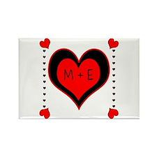 Cascading Hearts Monogram Magnets
