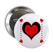 "Cascading Hearts Monogram 2.25"" Button (100 pack)"