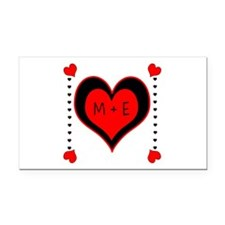 Cascading Hearts Monogram Rectangle Car Magnet