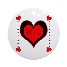 Cascading Hearts Monogram Ornament (Round)