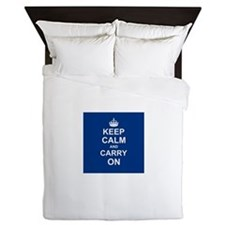 Keep Calm and Carry On - navy blue Queen Duvet