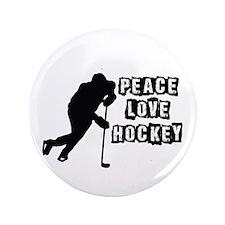 "Peace, Love, Hockey 3.5"" Button"