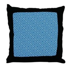 Dazzling Blue and White Greek Key Pattern Throw Pi