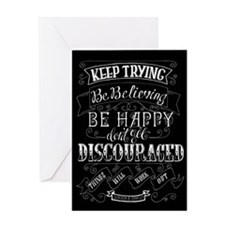 Keep Trying… hand lettered quote Greeting Cards