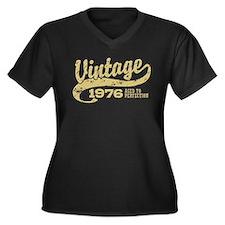 Vintage 1976 Women's Plus Size V-Neck Dark T-Shirt