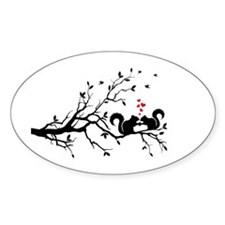 squirrel couple in love on tree branch Decal