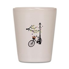 Old vintage bicycle with tree Shot Glass