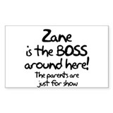 Zane is the Boss Rectangle Decal