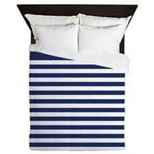 Trendy Blue and White Striped Pattern Queen Duvet