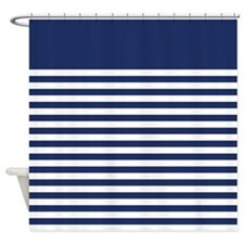 Trendy Blue and White Striped Pattern Shower Curta