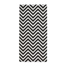 Black and White Chevron Pattern 1 Beach Towel