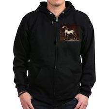 White Arabian Horse Zip Hoodie