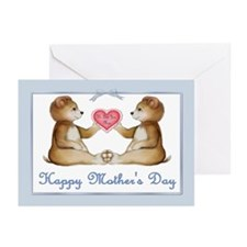 Twin Boy Bears Greeting Cards (Pk of 10)