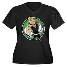 Cute Jh Women's Plus Size V-Neck Dark T-Shirt