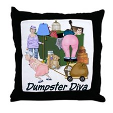Dumpster Diva Throw Pillow