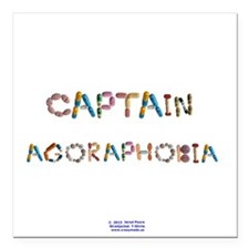 "Captain Agoraphobia Button Square Car Magnet 3"" x"