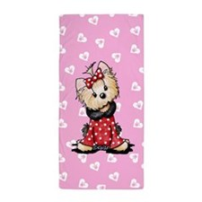 Valentine Yorkie Girl Beach Towel