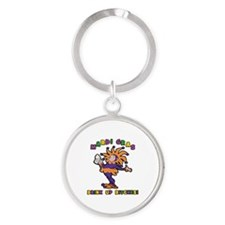 Mardi Gras Drink Up Bitches Round Keychain