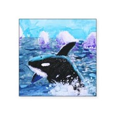 "Killer Whale Painting Square Sticker 3"" X 3"""