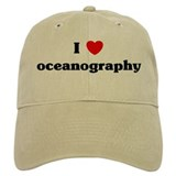 I Love oceanography Baseball Cap