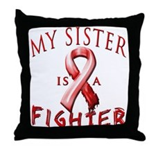 My Sister Is A Fighter Red Throw Pillow