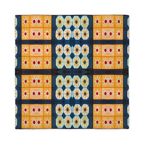 Yellow blue Floral tile pattern Queen Duvet