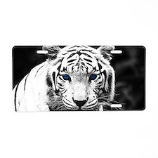 White Tiger Blue Eye Aluminum License Plate