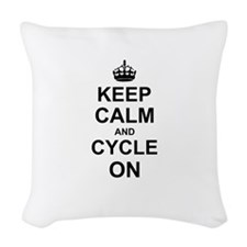Keep Calm and Cycle on Woven Throw Pillow
