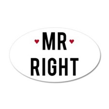 Mr right text design with red hearts Wall Decal