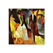 "Franz Marc - People by the  Square Sticker 3"" x 3"""