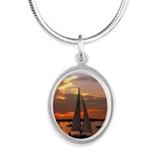 Sunset Sail Silver Oval Necklace