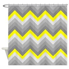Yellow and Gray Chevrons Shower Curtain