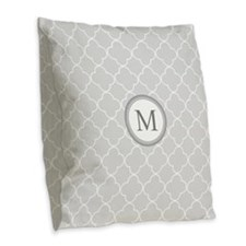 Light Grey Quatrefoil Monogram Burlap Throw Pillow