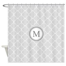 Light Grey Quatrefoil Monogram Shower Curtain