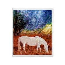 White Horse painting Throw Blanket