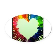 Rainbow Heart Oval Car Magnet