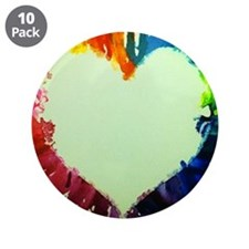 "Rainbow Heart 3.5"" Button (10 pack)"