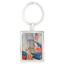 Allies Day, May, 1917 by Hassam Portrait Keychain