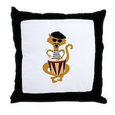 Retro Bongo Cat Throw Pillow