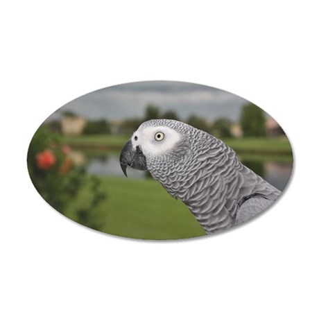 African Grey Parrot lake vie 20x12 Oval Wall Decal